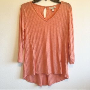 Dana Buchman | Ribbed orange Hi-lo blouse